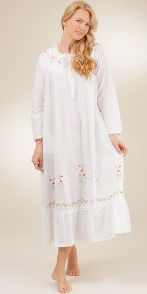 f239e35fd4e Women s Plus Sleepwear 1X to 4X - Soft   Easy Long Sleeved White Cotton  Nightgown - Red Rose Embroi