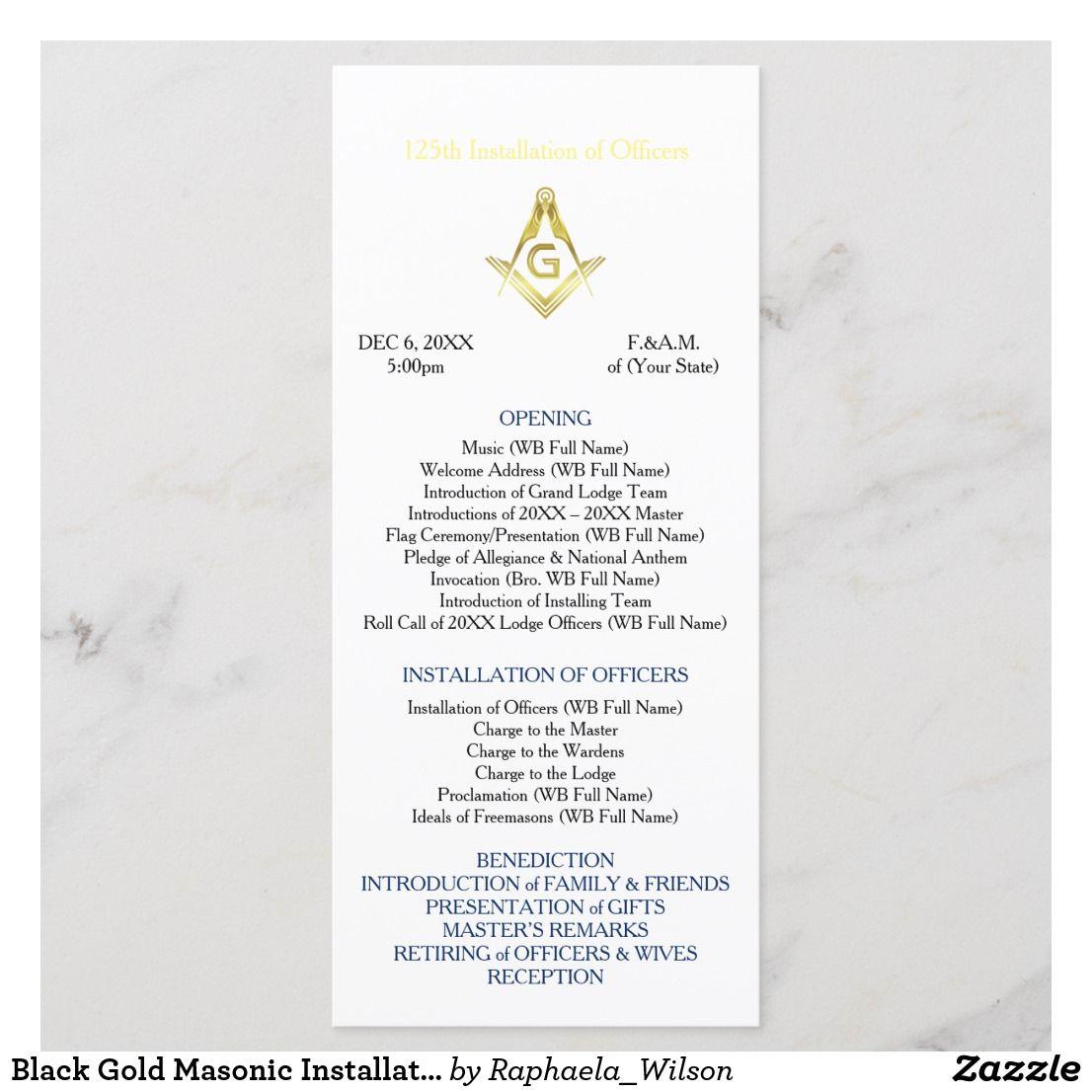Black Gold Masonic Installation Program Template | Zazzle