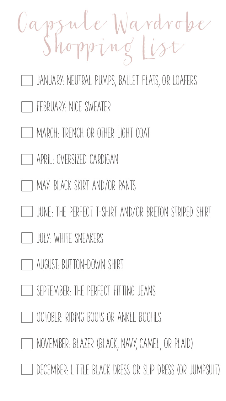 Shopping List: How to Build a Capsule Wardrobe One Month at a Time - Lauren
