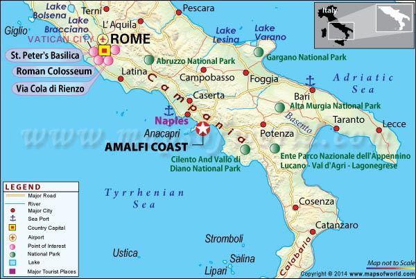 Location Map showing Amalfi Coast in Italy Amalfi Location map