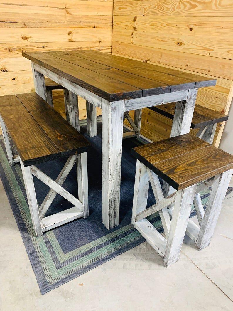 Tall Pub Height Farmhouse Table with Benches, Dark Walnut