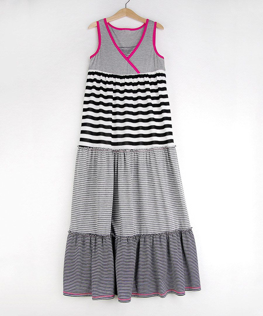 Look at this Me & Ko Gray & Pink Mixed-Stripe Maxi Dress - Girls on #zulily today!
