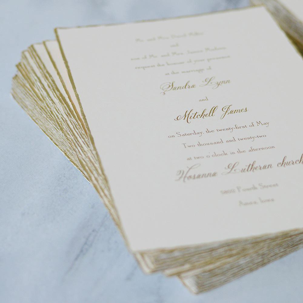 Gold Trim Invitation Invitations By Dawn Printing Wedding Invitations Wedding Invitations Rsvp Invitations By Dawn