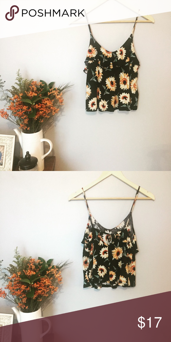 ed8af5f9cca6 Sunflower cropped tank top Kimchi blue sunflower tank top. Coachella style.  Perfect with high