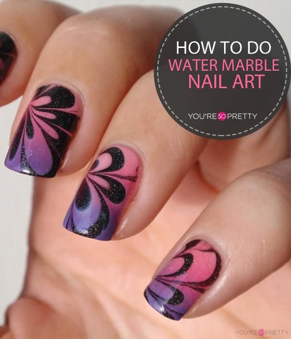 How To Do Water Marble Nails Tutorial Pinterest