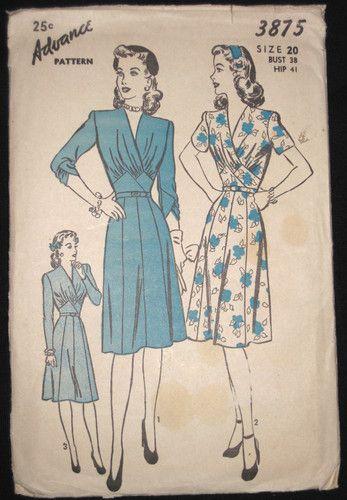 Vtg 40 S Wwii Advance Misses Gathered Cross Bodice Goared Dress Pattern 3875 S20 Vintage Dress Patterns Style Dress Patterns Dress Patterns Uk