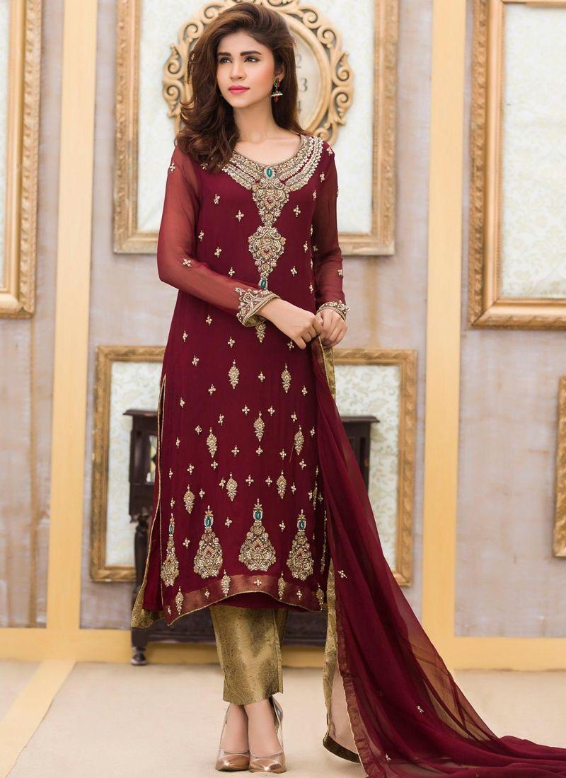 Buy Dark Maroon Georgette Designer Suit Online   Indian and ...