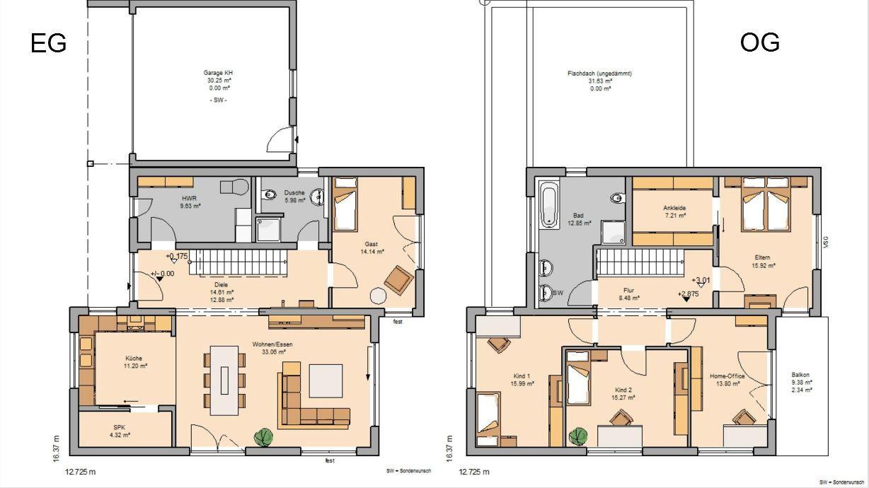 Grundriss Einfamilienhaus Modern Gerade Treppe Ostseesuche Com
