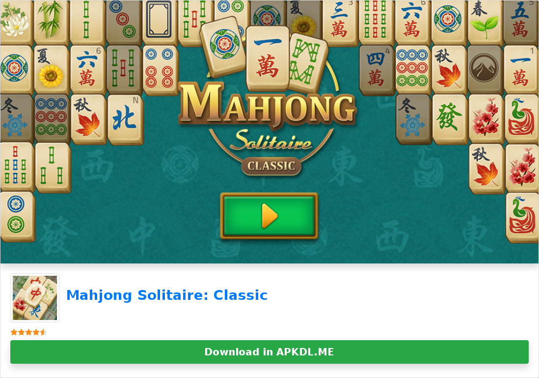 Mahjong Solitaire Classic in 2020 Mahjong, Solitaire