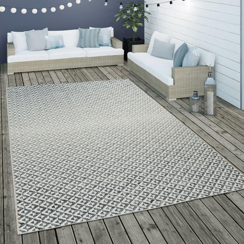 In  und Outdoor Flachgewebe Teppich Rauten Design   Terrassen ...