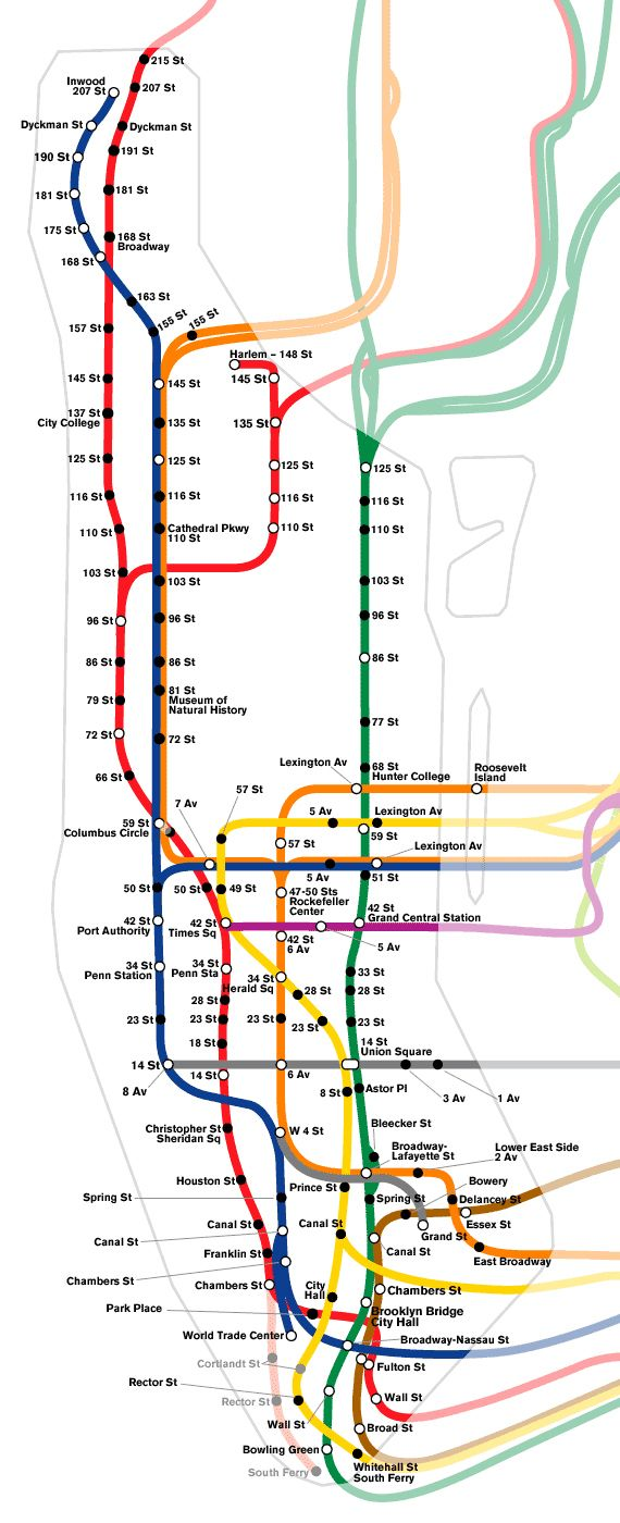 nyc schematic subway map of manhattan manhattan schematic subway map