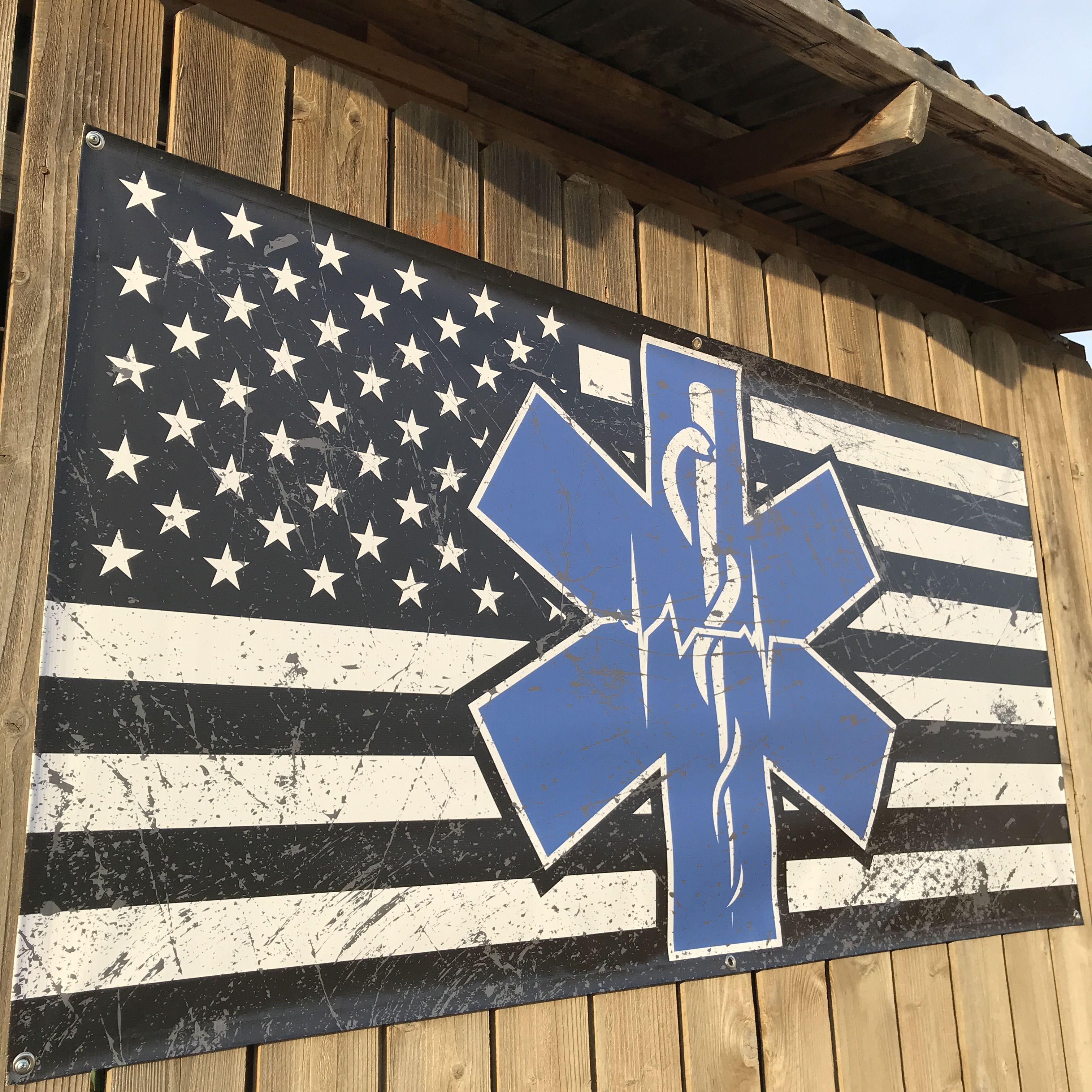 Distressed Paramedic Emt Ems Star Of Life Flag Banners Www Lstarsigns Com Lonestarsigns Lonestararmy Emt Ems Emtlife E Anerican Flag Flag Banners Banner