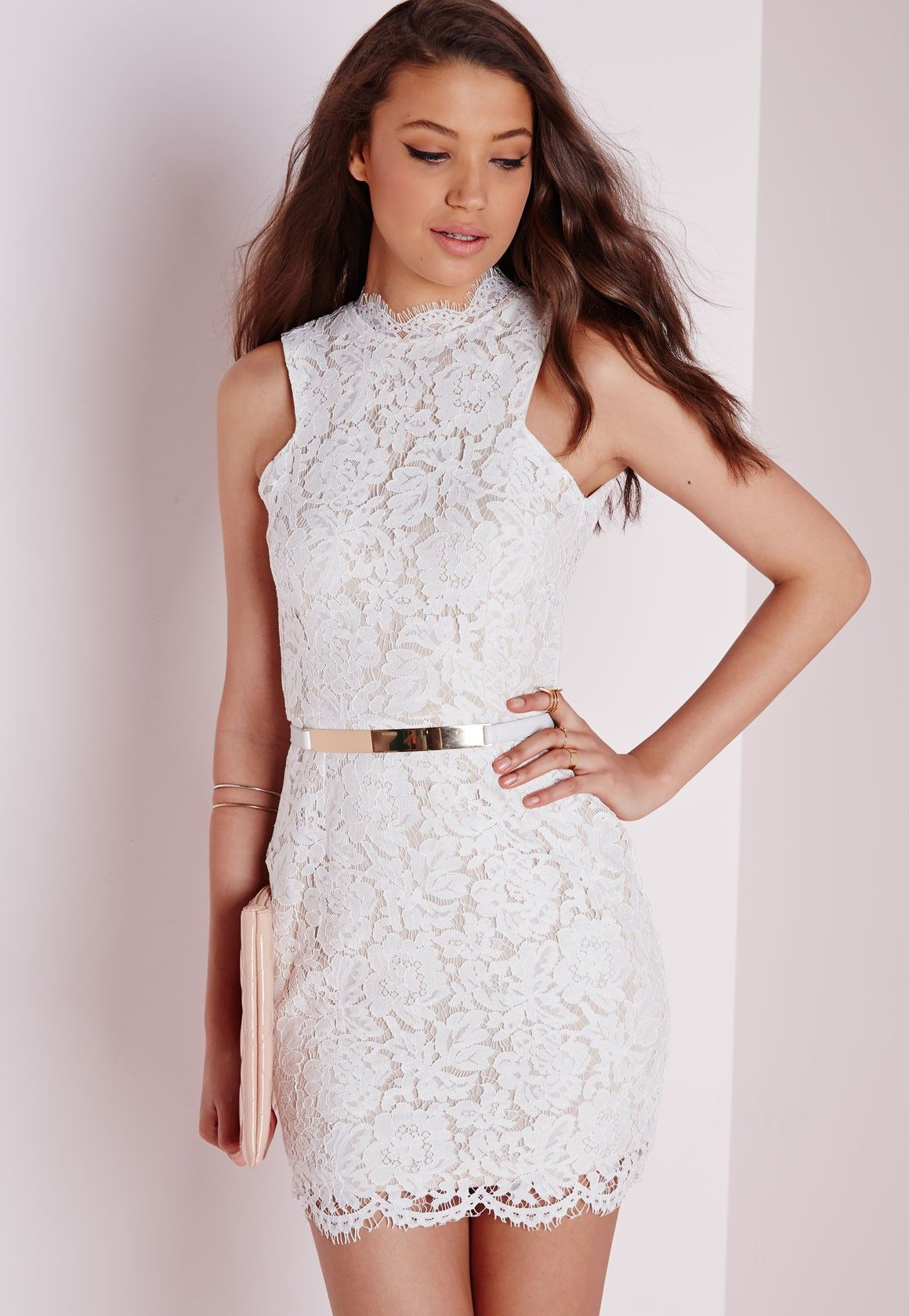 Missguided - Lace High Neck Scallop Hem Mini Dress White ...