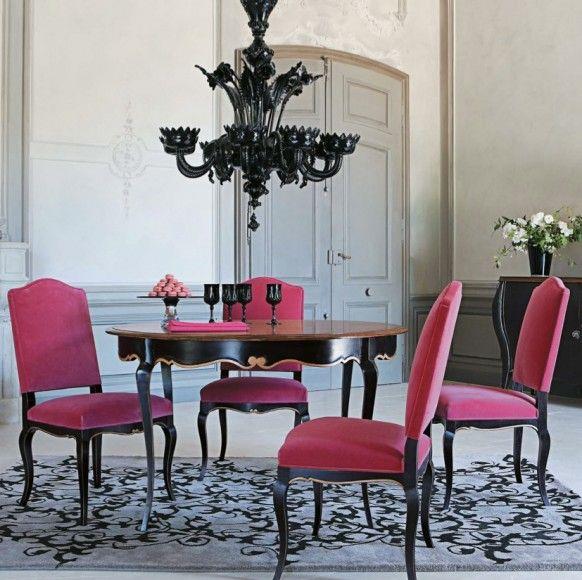 Modern Glam fuchia chairs dining room