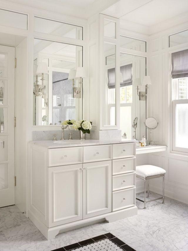 Adorable traditional bathroom with makeup vanity table set - Traditional style bathroom vanities ...