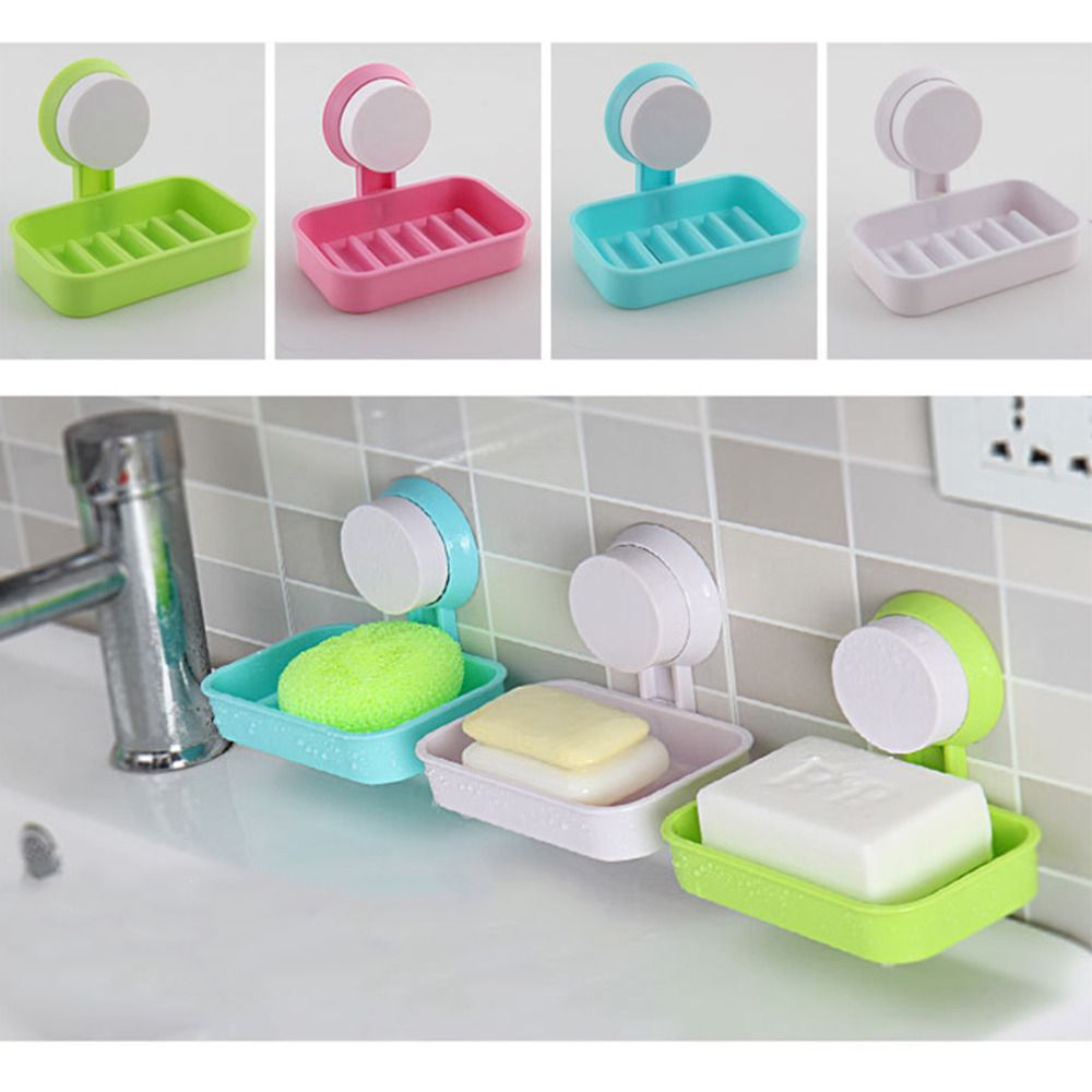 1pcs Candy Color Toilet Suction Cup Holder Bathroom Shower Soap Dish Home Hotel Travel Soap Dish Tray Wall Holder Storage Box Bathroom Soap Soap Holder Soap