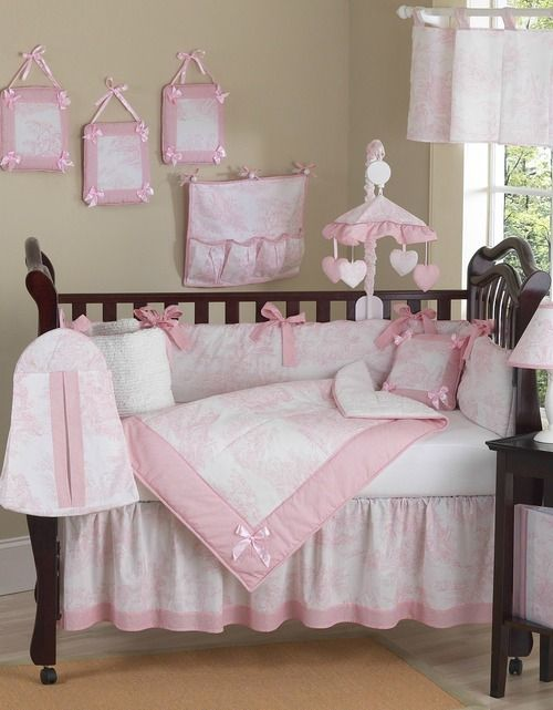 Pink French Toile And Gingham Baby Bedding 9 Piece Girls Crib Set By Sweet Jojo Designs Pink Crib Bedding Girl Crib Bedding Sets Crib Bedding Girl