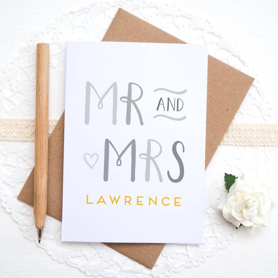 Personalised Mr And Mrs Card | Wedding cards, Wedding card ...