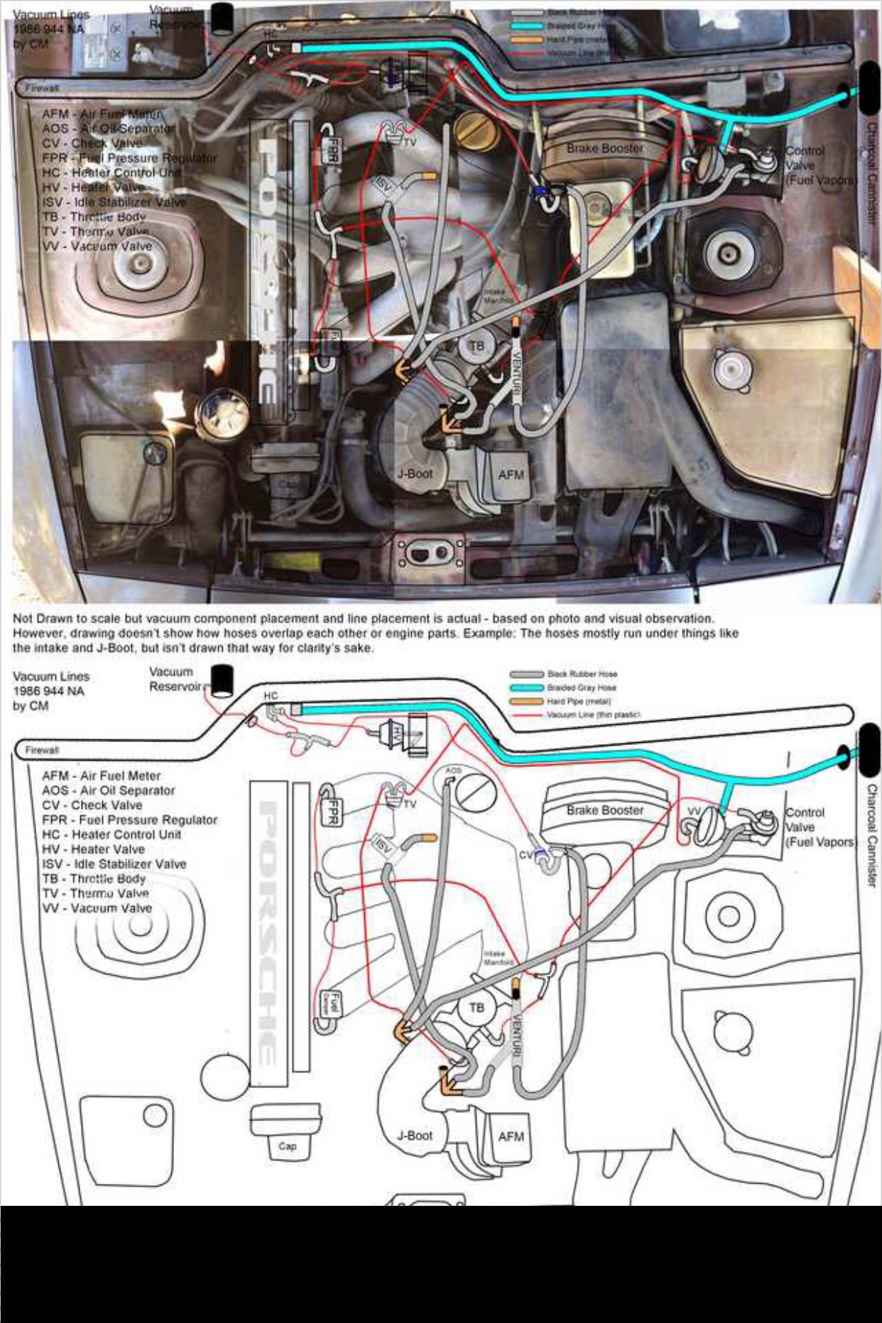 1986 porsche 944 vacuum line diagram overlay [ 1242 x 1863 Pixel ]