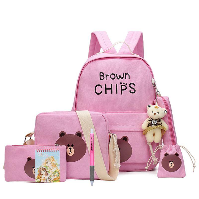 Photo of € 16.44 39% OFF | 8pcs / set Cute Brown Bear Multifunctional School Backpack Kids Canvas Shoulder Bags Boys Girls Travel School Bags | School Bags | – AliExpress