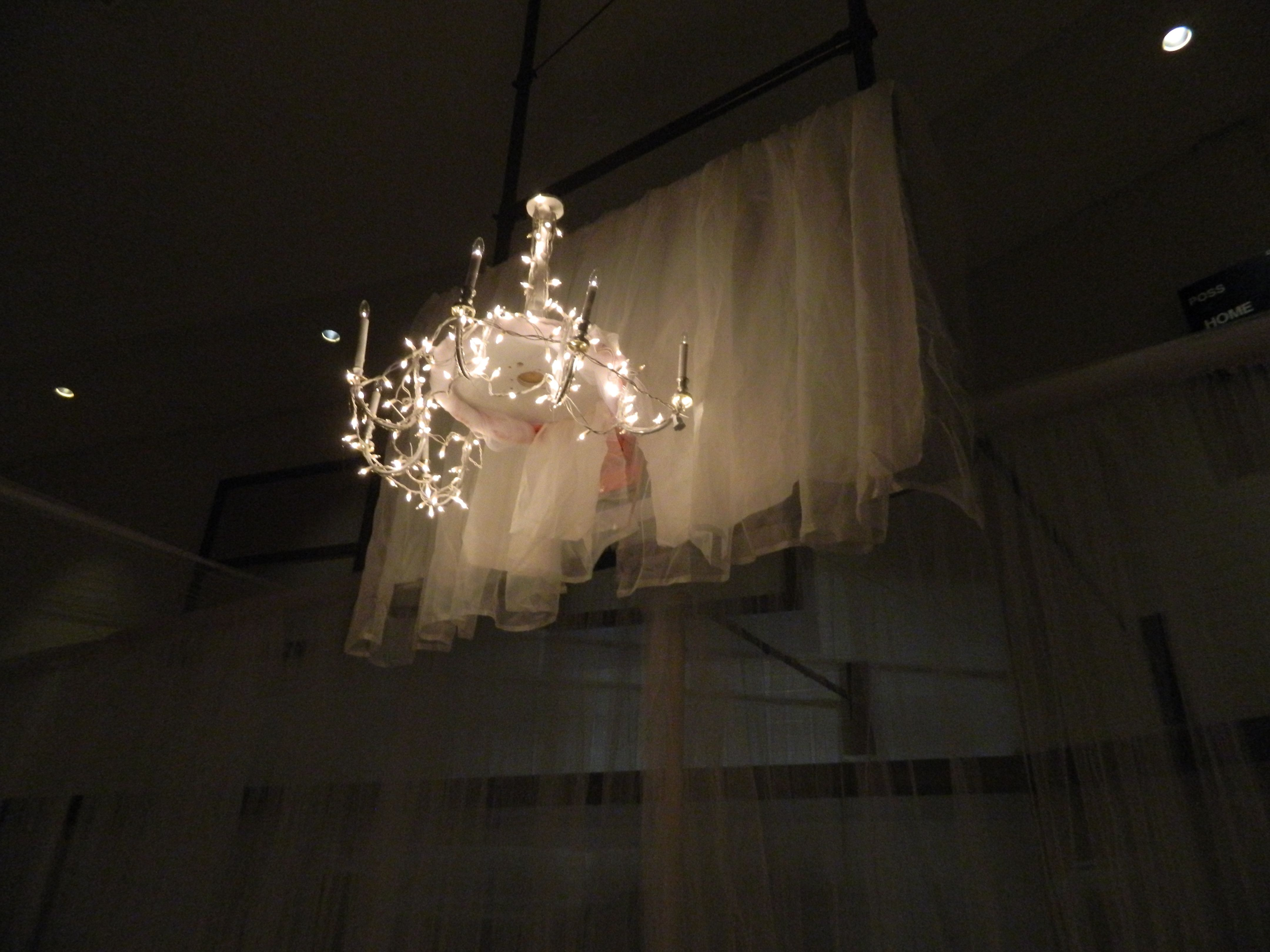 We covered the basketball hoops with drapery and set a lighted we covered the basketball hoops with drapery and set a lighted chandelier on top arubaitofo Choice Image