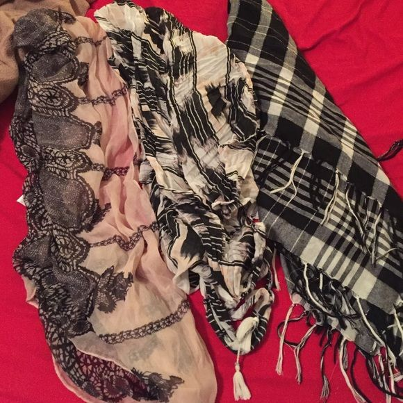 Scarf bundle Three scarves! One black plaid from express, infinity lace scarf, and American eagle pink black and white scarf Express Accessories Scarves & Wraps