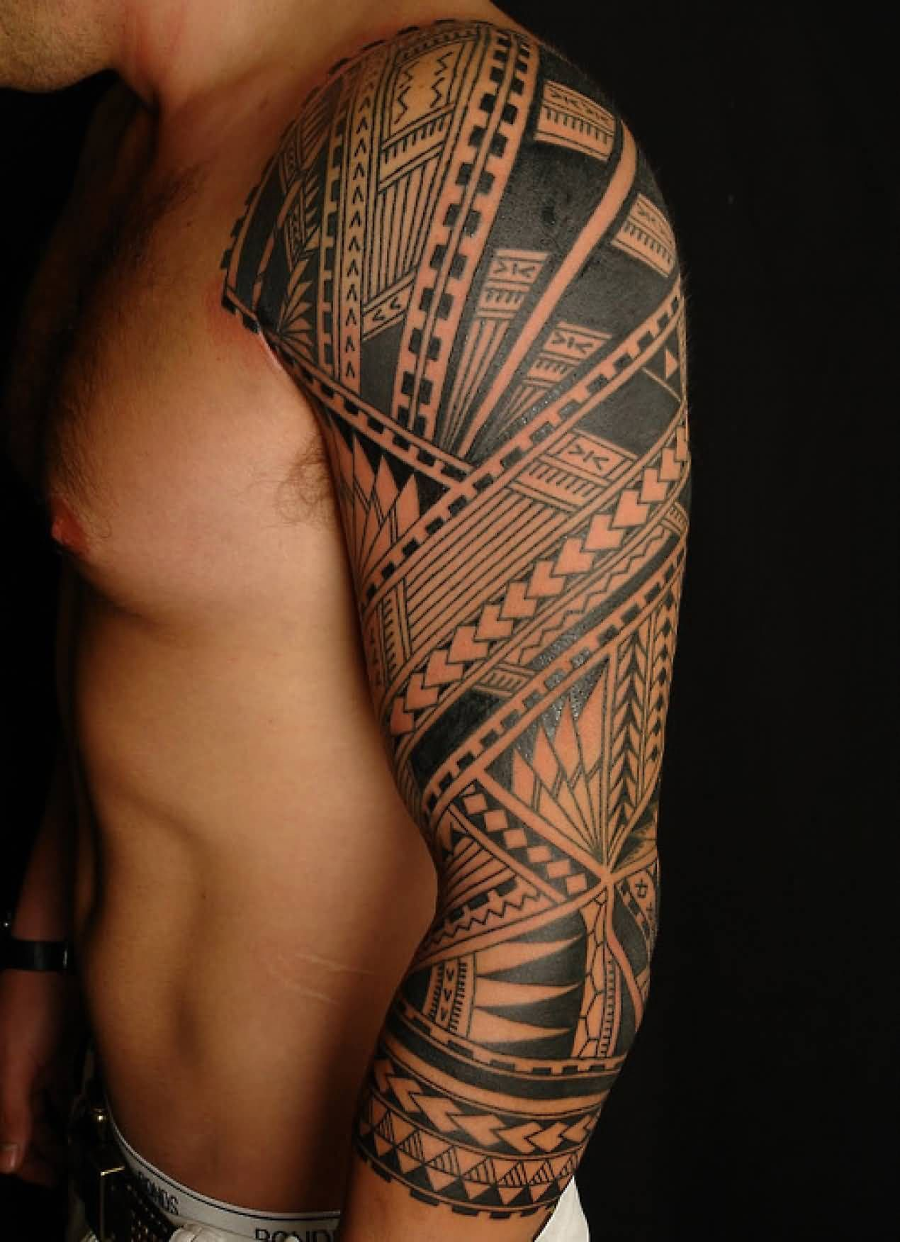 Impressive Tribal Maori Tattoo On Full Sleeve Tribal Tattoos For Men Mens Shoulder Tattoo Tattoo Sleeve Designs