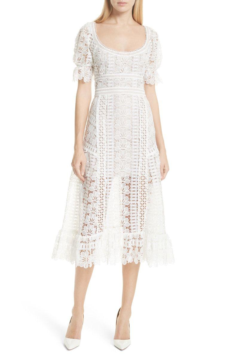Floral Guipure Lace Midi Dress Main Color White Lace Midi Dress Lace White Dress Dresses [ 1197 x 780 Pixel ]