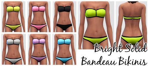 BikiniSims Bright Bandeau 4 Solid Bikinis kXPuOZi