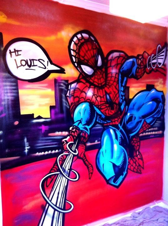 Kids Bedroom Graffiti spiderman graffiti bedroom | wall art | pinterest | graffiti