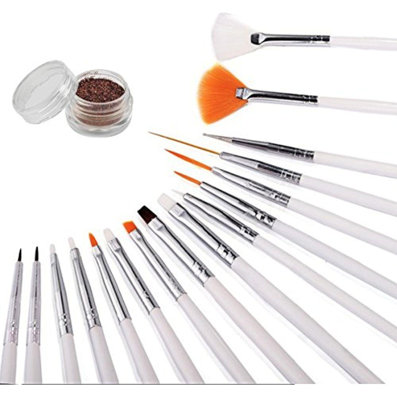 16 Piece Nail Art Tip Brush Tool Set Dotting Pen Drawing Liner