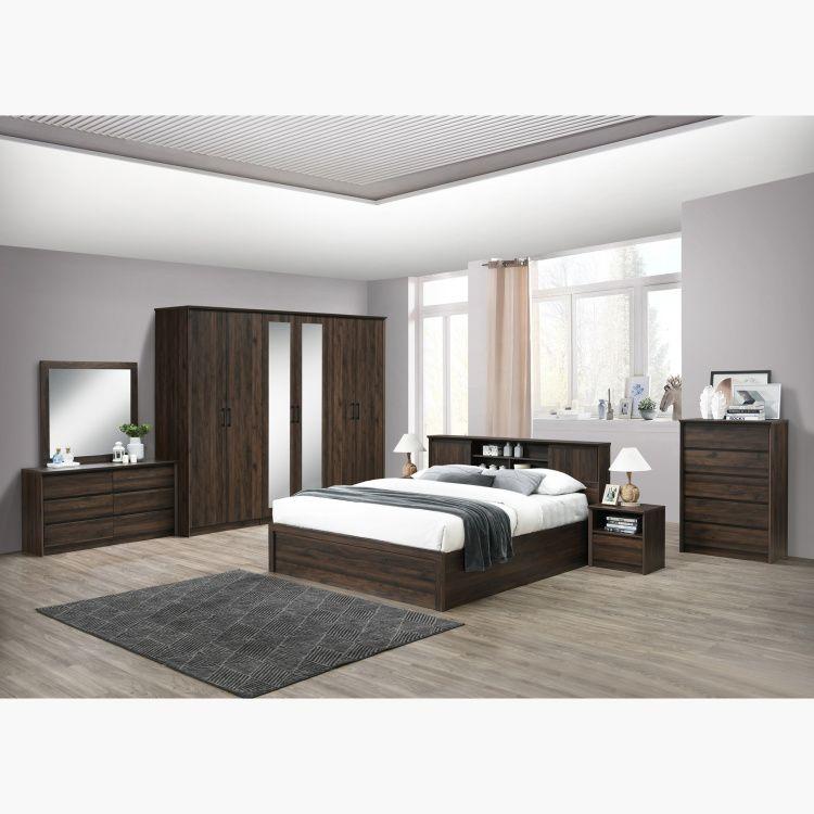 سرير كينج بلوح رأسي بمساحة تخزين من ميرو 180x200 سم بني Modern Bedroom Design Modern Bedroom Bedroom Design