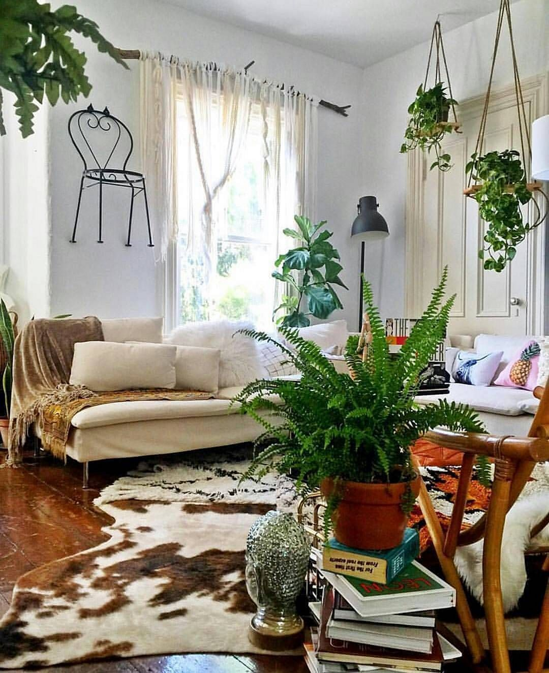 15 Beautiful Living Room With Hanging Plants Ideas ...