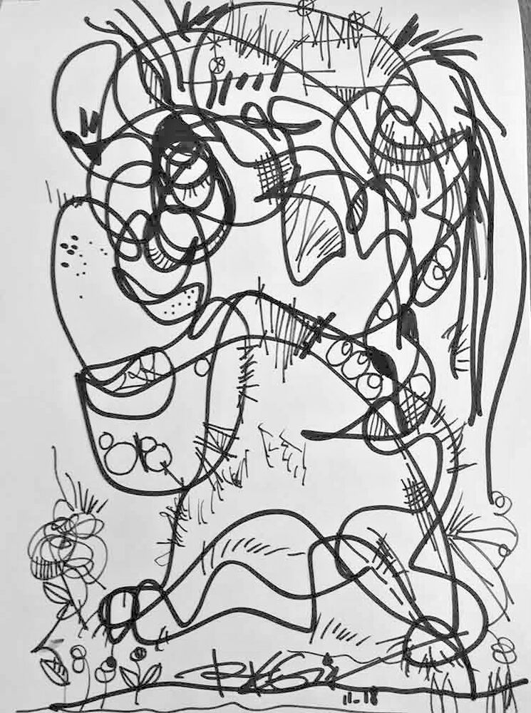 Original Ink Drawing Abstract Black White Art Markers Art