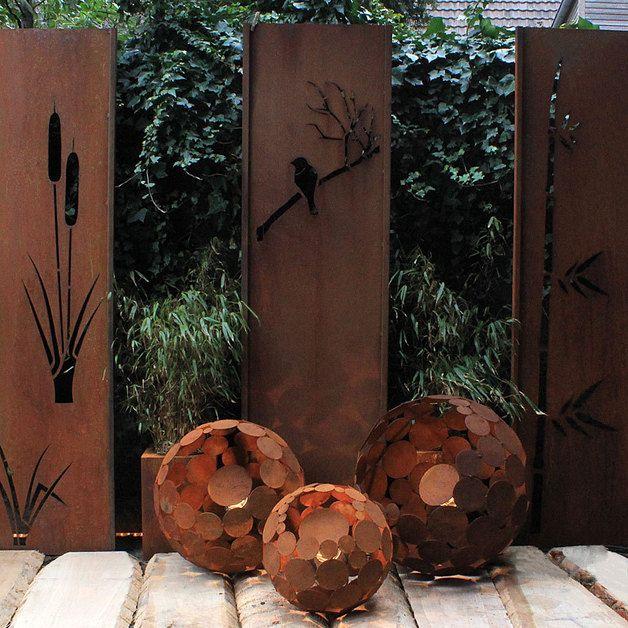 Kugel Leuchte rost d=40cm outdoor Gartenleuchte | Garten