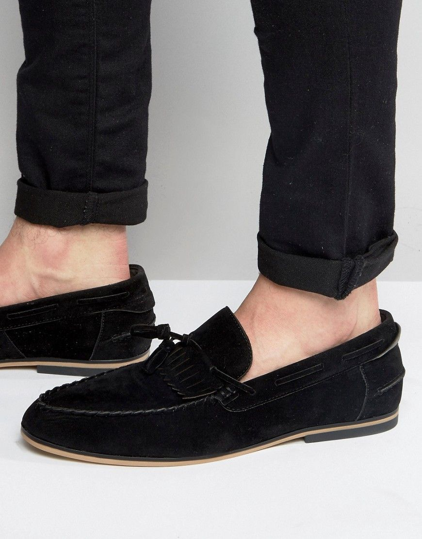 6e2a7a9956a ASOS Tassel Loafers In Black Faux Suede With Fringe - Black