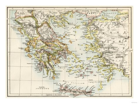 Map of the Aegean Sea in the Time of Ancient Greece Giclee Print #aegeansea