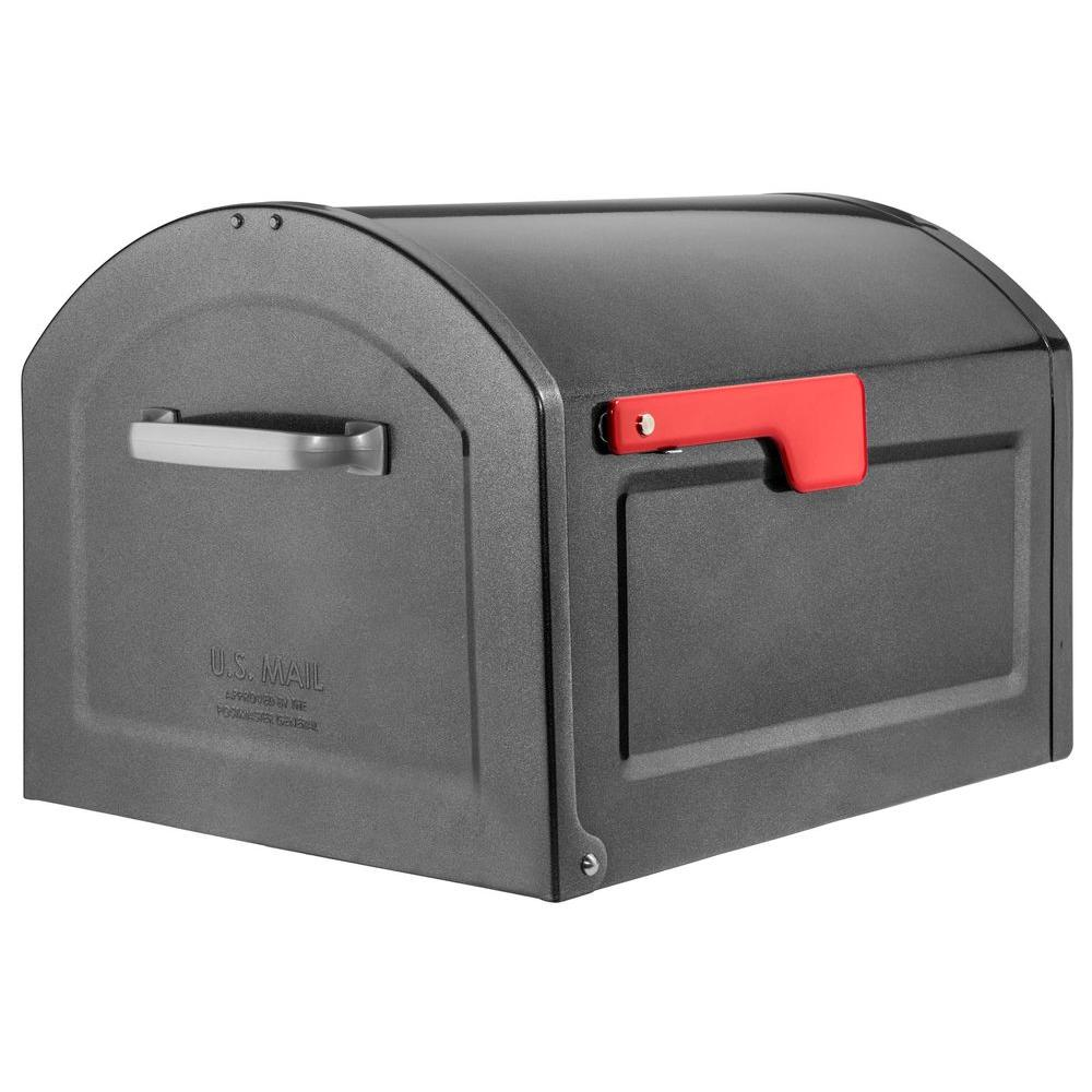 Architectural Mailboxes Centennial Metallic Pewter With Red Flag Large Capacity Post Mount Mailbox 950020p Architectural Mailboxes Mounted Mailbox Post Mount