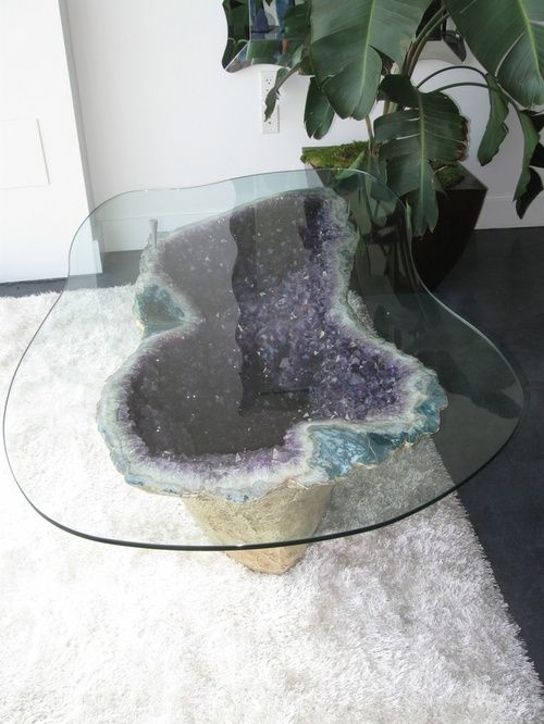 This Amethyst Geode Coffee Table Bohemian House Crystals Decor