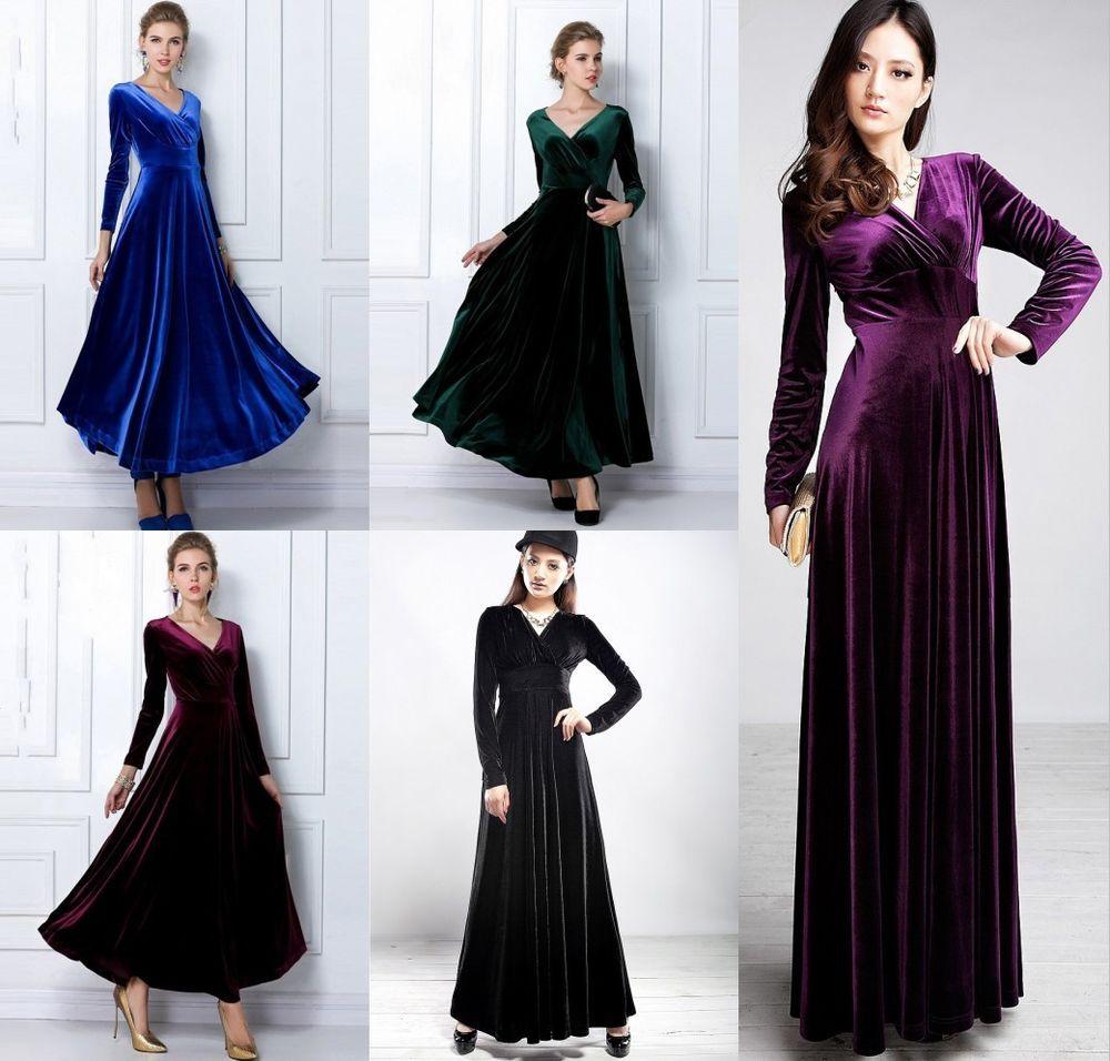 New womens long sleeve vneck maxi full length dress prom cocktail