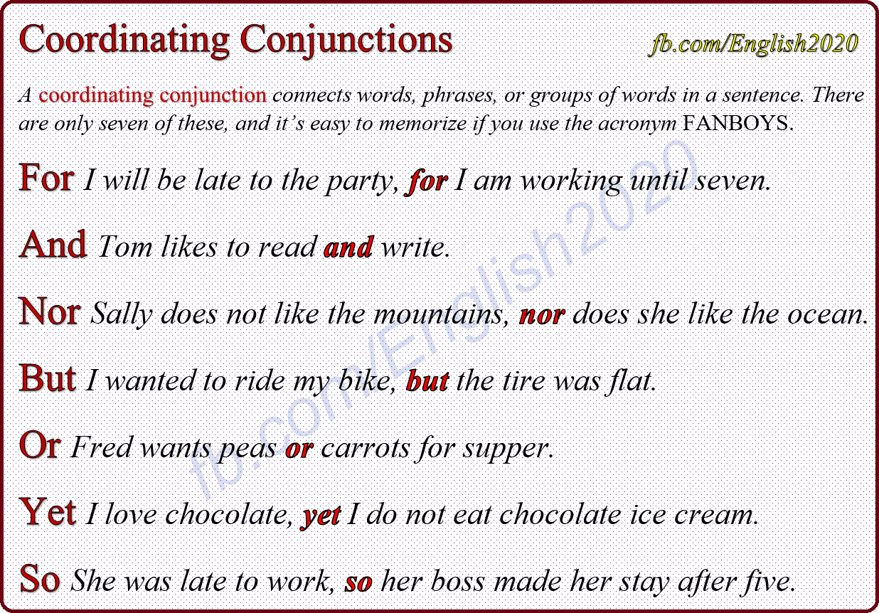 Worksheet On Coordinating Conjunctions For Grade 7