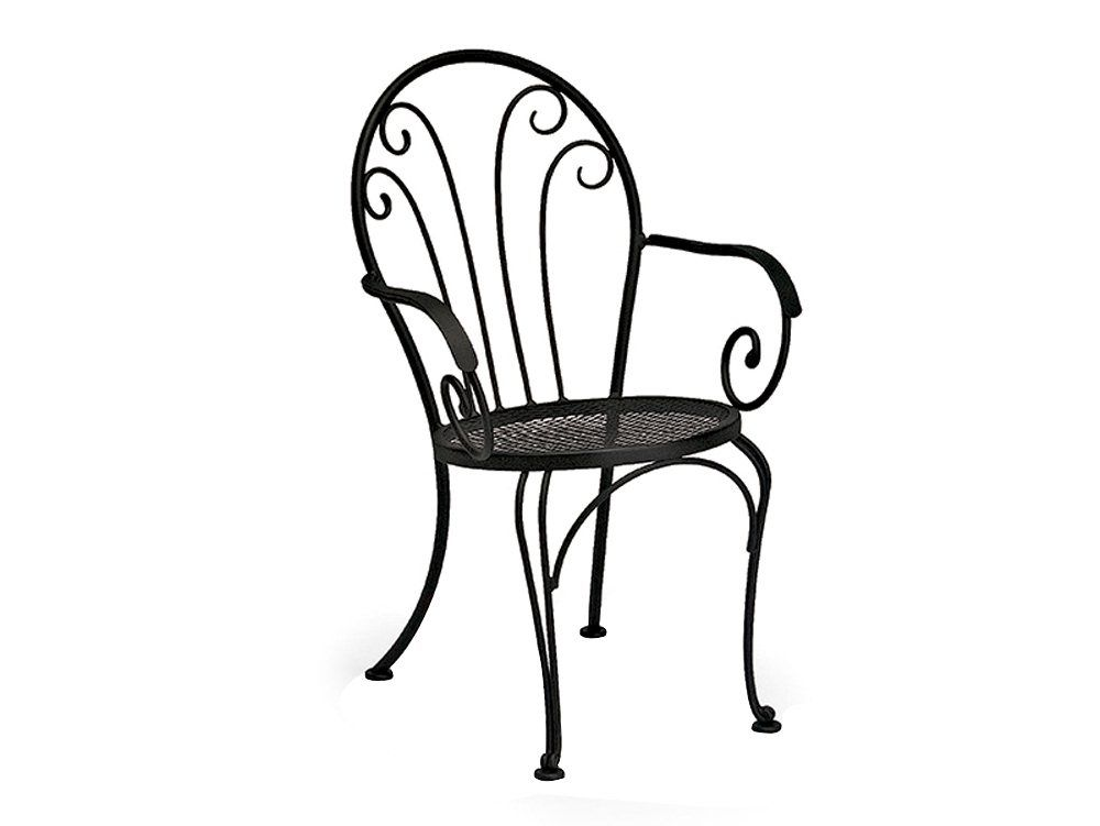 Woodard Laurel Wrought Iron Metal Arm Bistro Dining Chair Black