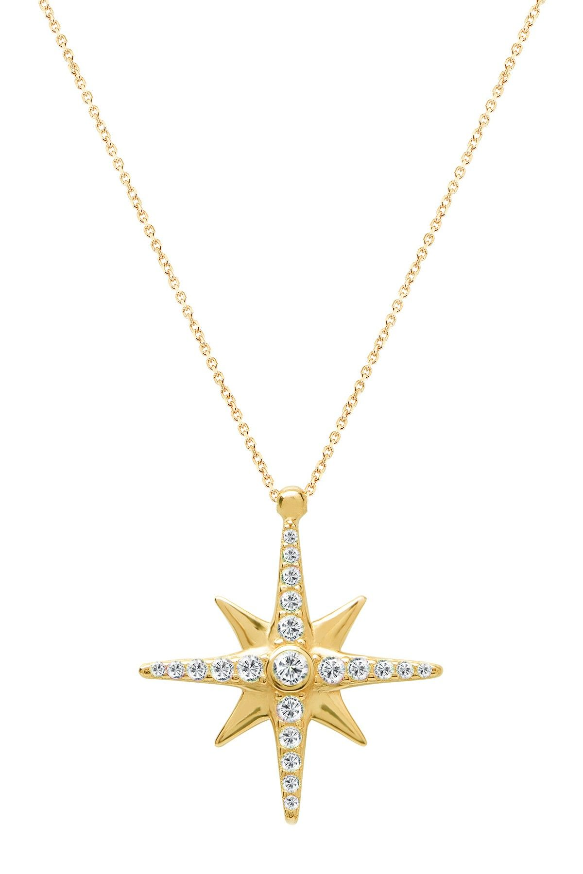 Gab cos designs north star diamond cz set pendant necklace fashion
