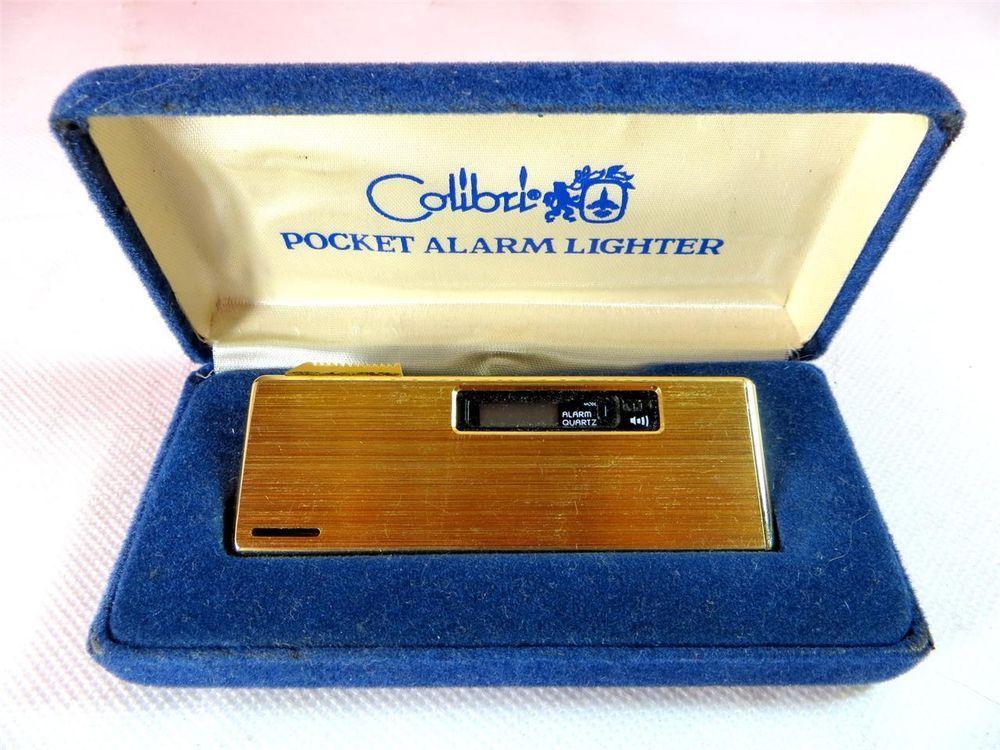 Snazzy Vintage Colibri Goldtone Pocket Alarm Butane