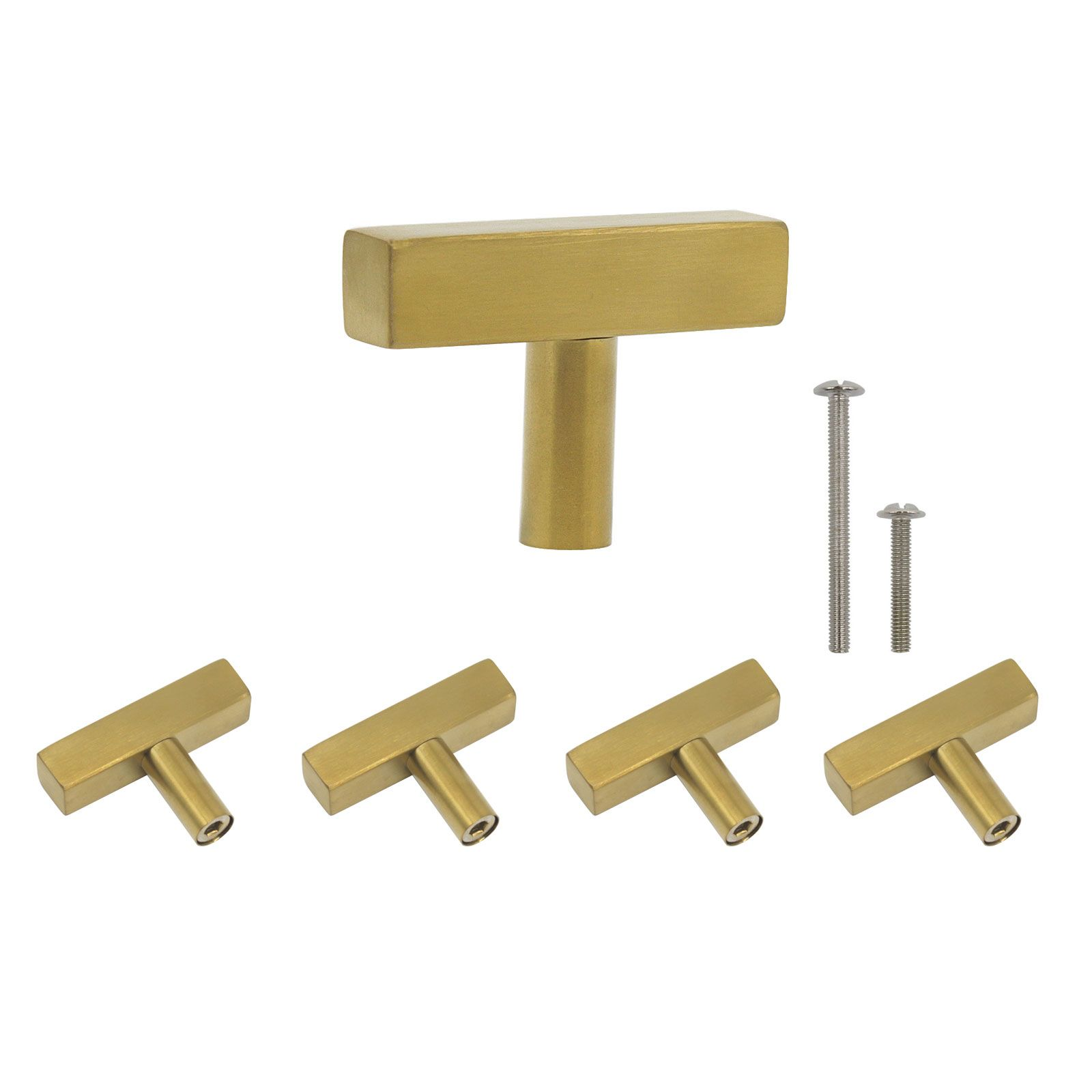 Probrico Brushed Brass Cabinet Pulls 2 Inch 50mm Length Kitchen Cabinet Pulls Modern Square Cabinet Pull