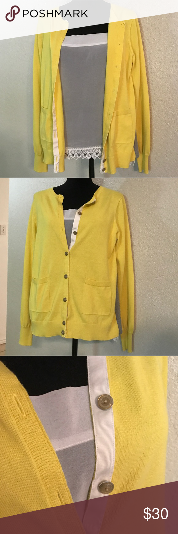 CAbi cardigan with cami Adorable yellow and gray cardigan with ...