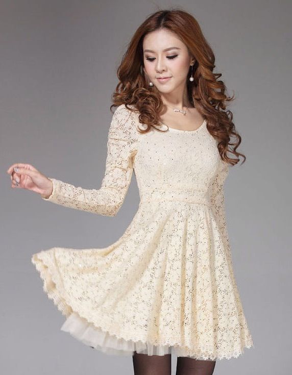 Gorgeous cream, lace dress with sparkle. Long sleeve, but also ...