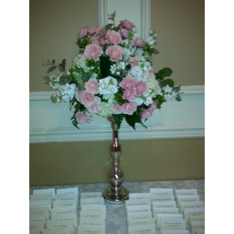 Arrangement for guest card table at wedding reception