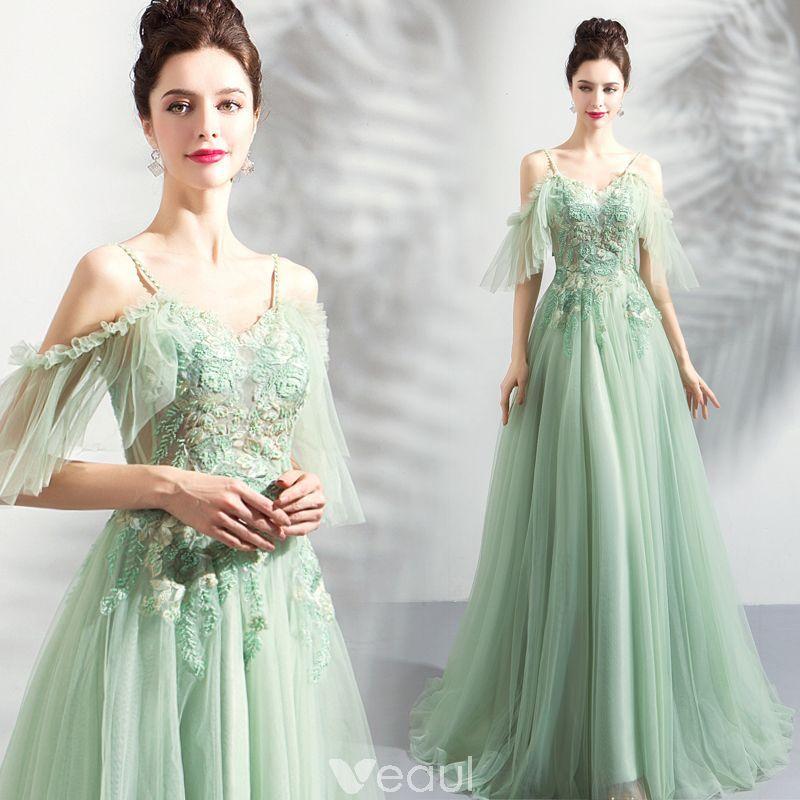 c5e7d11550 Modern   Fashion Lime Green Evening Dresses 2019 A-Line   Princess  Spaghetti Straps Short Sleeve Appliques Lace Beading Floor-Length   Long  Ruffle Backless ...