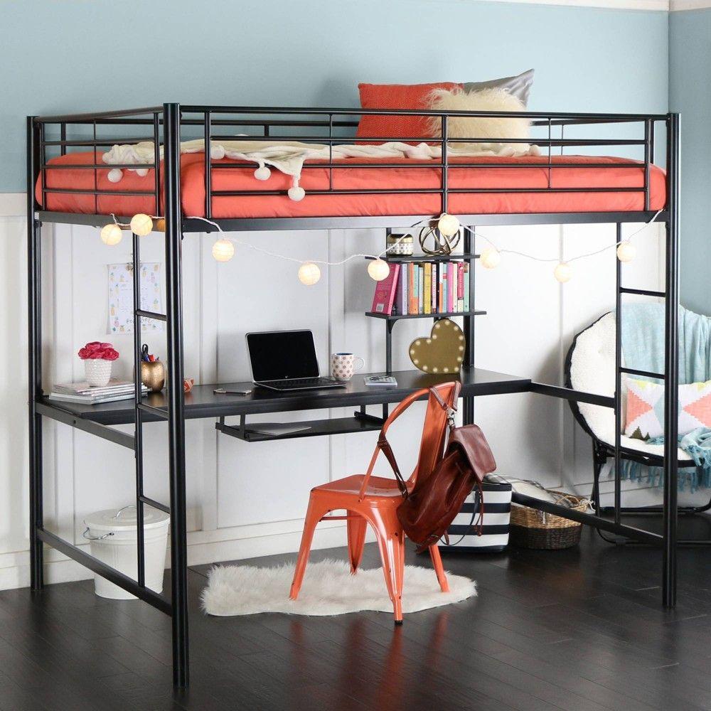 Full Premium Metal Loft Bed With Wood Workstation Black Saracina Home Loft Bed Kids Loft Beds Loft Bed Frame Loft bed with desk full size mattress